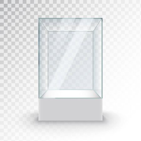 Empty Glass Showcase on pedestal. Museum glass box isolated advertising or business design boutique