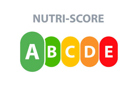Nutrition label facts health score. Food info nutriscore label facts packaging sign