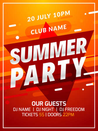 Music party poster background color abstract gradient flyer design. 3d modern summer dance club template Illusztráció