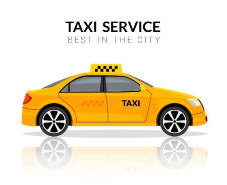 Taxi car app cab flat yellow vector car icon. Taxi travel taxi design service