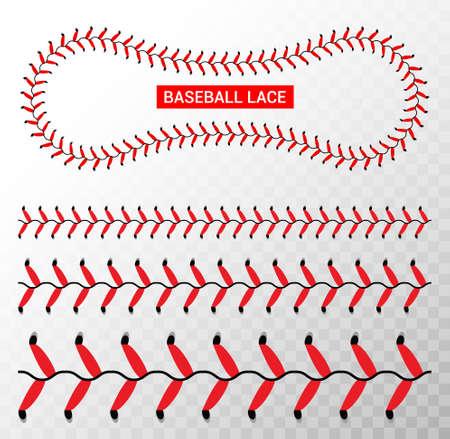 Baseball red lace seam thread. Base ball vector illustration lace stitch