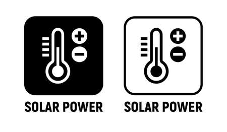 Solar energy power icon. Solar battery green power clean charge sun heat vector icon