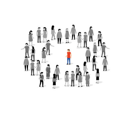 Unique person in crowd vector concept. People group unique person team leader winner alone
