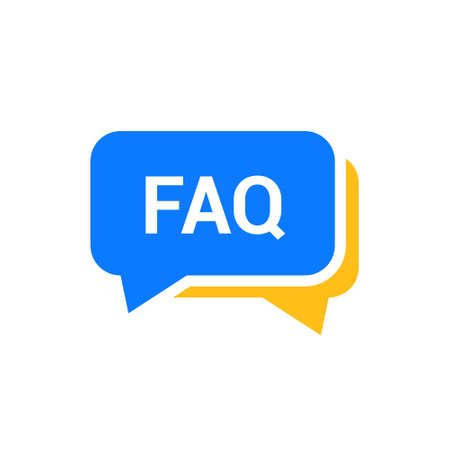 Faq help flat design icon. Query frequently question speech vector information symbol Illustration