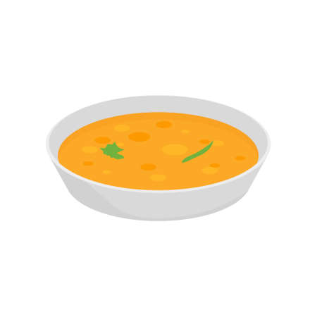 Soup chicken dish with onion. Bowl soup vector plate cook isolated cartoon meal icon Vettoriali