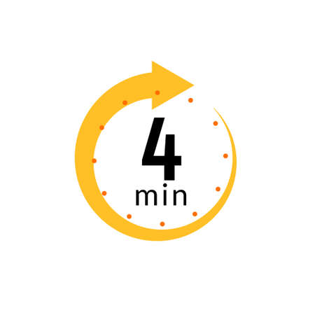4 minutes clock quick number icon. 4min time circle icon