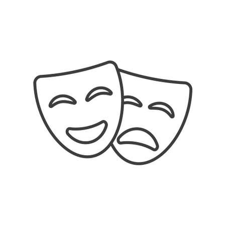 Theatre mask icon silhouette. Theatre drama comedy vector icon, actor acting logo 일러스트