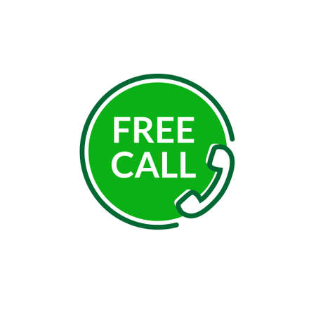 Free call vector icon. Free phone call care sign contact toll free customer telephone help