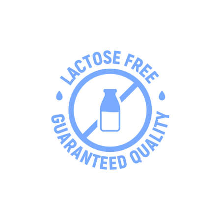 Lactose gluten free dairy icon. Milk dietary lactose free sign stamp or logo