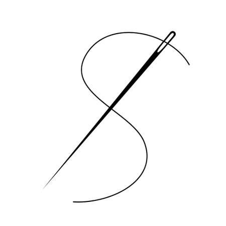 Sewing Needle vector icon. Thread vector sew tailor logo. isolated needle illustration Illustration