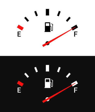 Fuel indicators gas meter. Gauge vector tank full icon. Car dial petrol gasoline dashboard 矢量图像