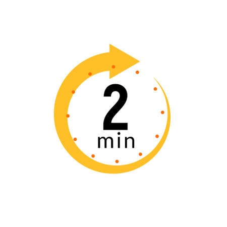 2 minutes clock quick number icon. 2min time circle icon 矢量图像