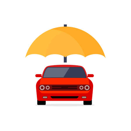 Car insurance vector logo concept protect icon. Car insurance umbrella cover care illustration