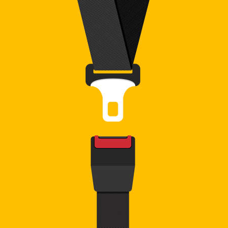 Car safety belt. Seatbelt safe buckle icon isolated. Security strap fasten accident insurance Stock Illustratie