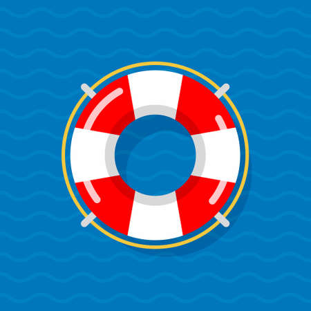 Life preserver buoy ring help icon. Lifebuoy saver raft swim vector jacket Stock Illustratie