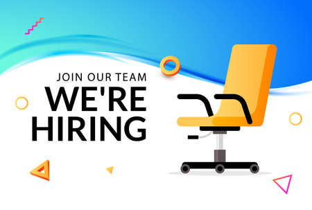 We hire ad vector concept. Hiring job chair recruit office vacancy ceo banner design Illustration