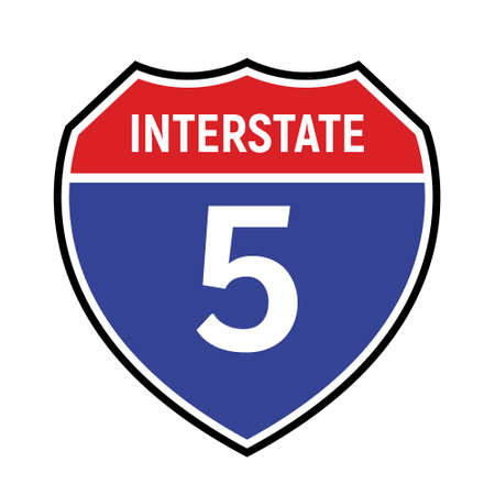 5 route sign icon. Vector road 5 highway interstate american freeway symbol