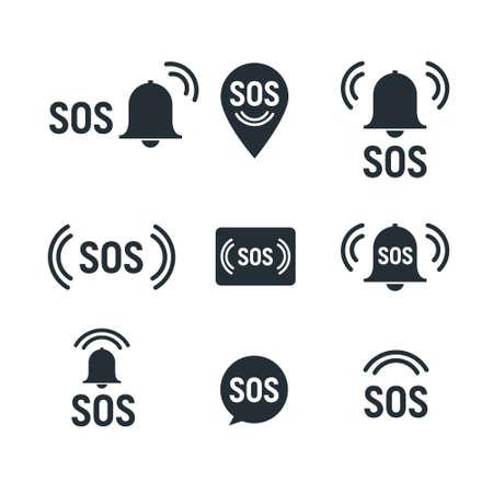 Sos icon emergency alarm button. SOS sign symbol lifebuoy rescue isolated marker Vektoros illusztráció