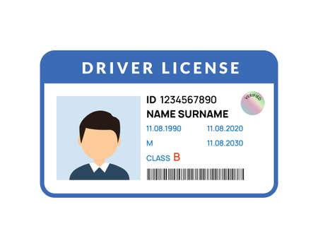 Driver licence icon. Driver id card vector license. Drive identity photo identification