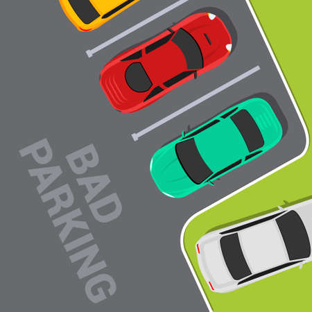 Bad parking car top view. Wrong parking area traffic road rules, flat vector car