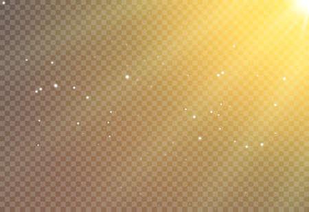 Sun light flare background effect, Sunlight ray glowing beam on transparent, warm shine glare