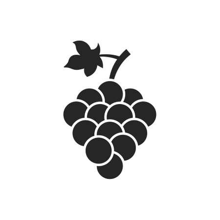 Grape vector isolated icon. Grape leaf wine black illustration graphic pictogram simple logo Logo