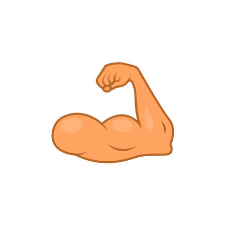 Arm emoji strong muscle flex bicep. Emoticon hand cartoon gym bodybuilder icon
