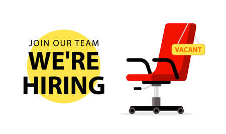 We hire ad vector concept. Hiring job chair recruit office vacancy ceo banner design Ilustracja