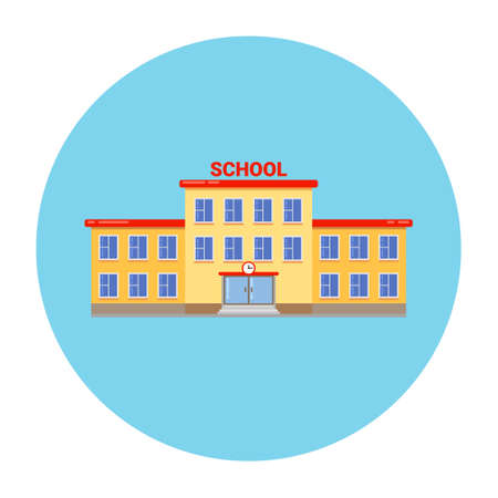 School university building vector elementary high cartoon campus flat school building illustration