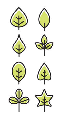 Leaf vector design line icon. Green line leaf plant outline symbol nature Ilustracja