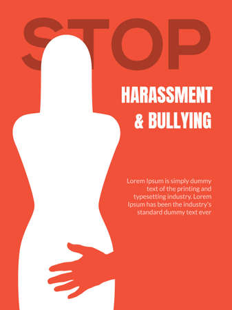 Sexual harassment violence stop poster. Sexual harassment assault woman concept Vettoriali