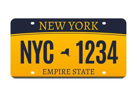 New York licence plate. American metal vehicle registration