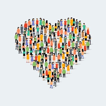 People community heart shape. Group love crowd people Ilustración de vector