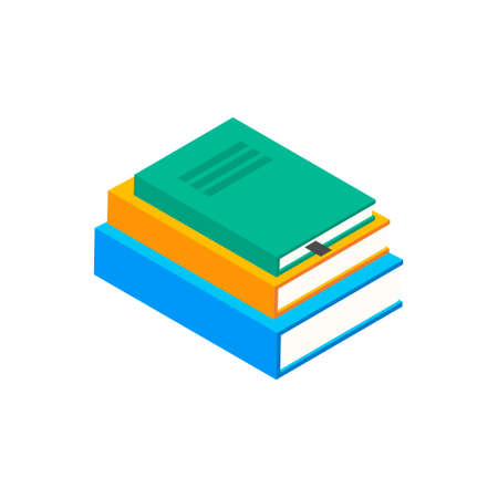 Book vector isometric stack school illustration icon. Children books flat library