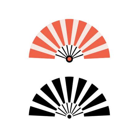 Hand fan chinese fold clipart icon. Japan held fan vector handfan