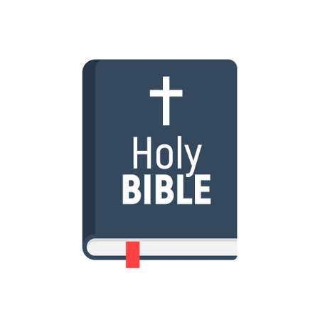 Holy Bible vector logo icon. Church bible isolated book design flat pictogram
