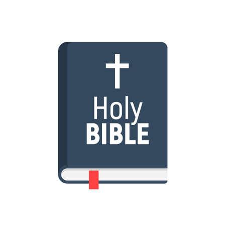 Holy Bible vector logo icon. Church bible isolated book design flat pictogram Foto de archivo - 158263962