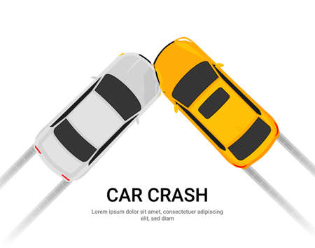 Car accident speed crash vector top view cartoon icon. Car crash concept illustration Vektoros illusztráció
