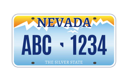 American Nevada car license plate vector registration. Car licence vehicle nevada state numberplate design