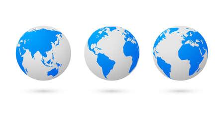 Globe earth world vector map. 3d blue transparent digital planet round globe icon set