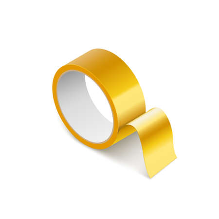 Scotch yellow roll adhesive tape mockup. tape 3d packing vector scotch icon