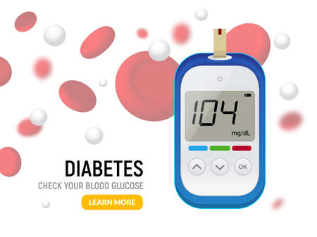 Glucose sugar test. Glucometer vector blood monitor. Diabetes sugar meter insulin control device illustration