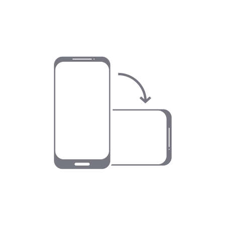 Rotate phone vector icon. Flip screen mobile phone device orientation symbol