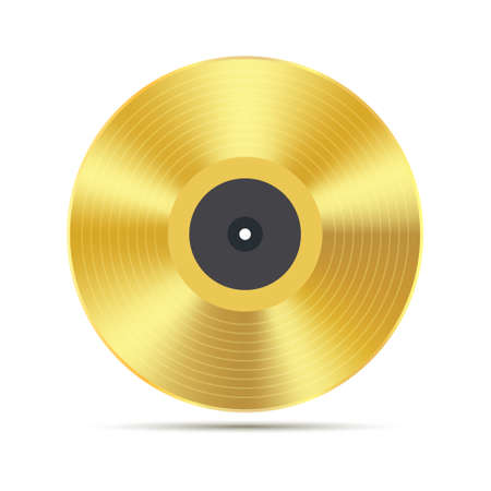 Gramophone golden vinyl disco record album. Music jukebox calssic vinyl disk Illustration