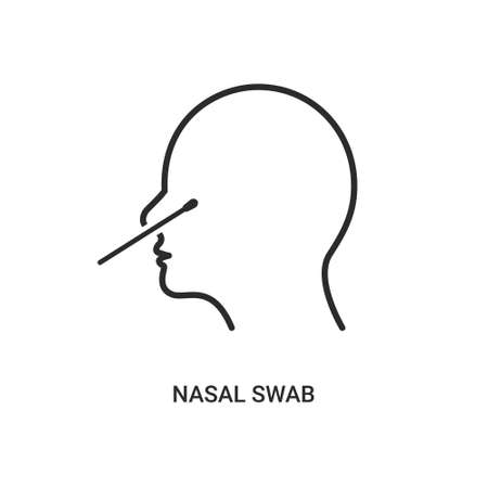 Covid nasal swab icon. Corona virus nasal pcr swab test line icon