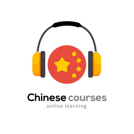 Chinese language learning logo icon with headphones. Creative chinese class fluent concept speak test and grammar