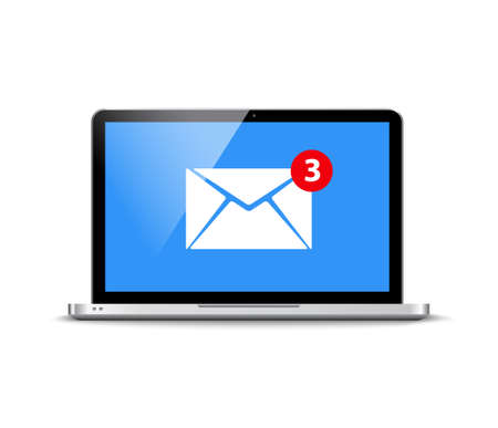New message email notification computer vector alert reminder. Mail flat new design