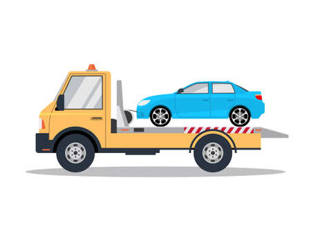 Car tow truck accident roadside assistance. Crash breakdown flatbed blue car recovery tow truck Vector Illustratie