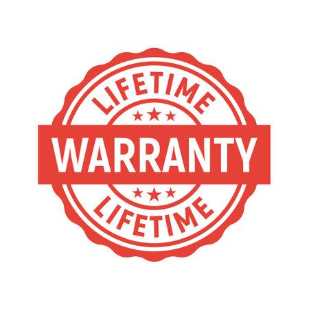 Lifetime warranty limited stamp round tag. Warranty extended guarantee icon Ilustração