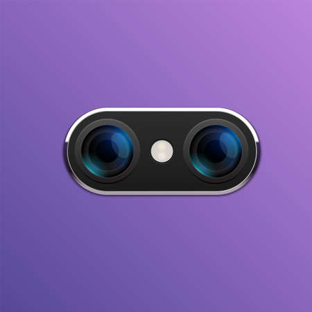 Camera phone lens mobile 3d vector icon. Smart phone camera lense back concept Çizim